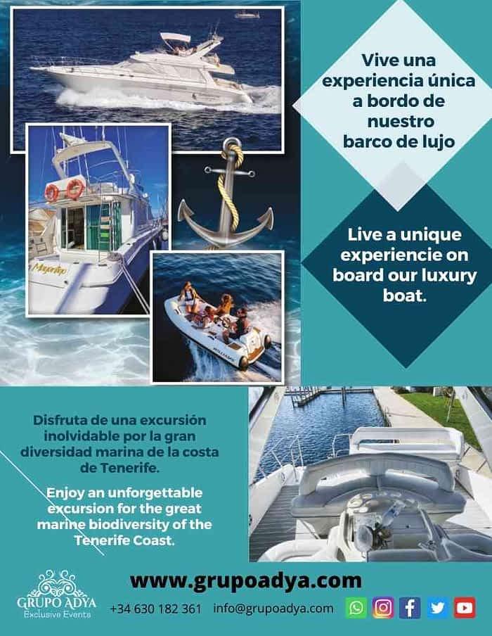 Barco de lujo Grupo Adya | Eventos en Tenerife Sur