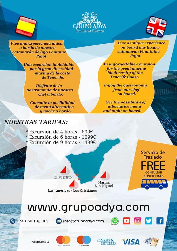 Catamarán Grupo Adya   Tarifas