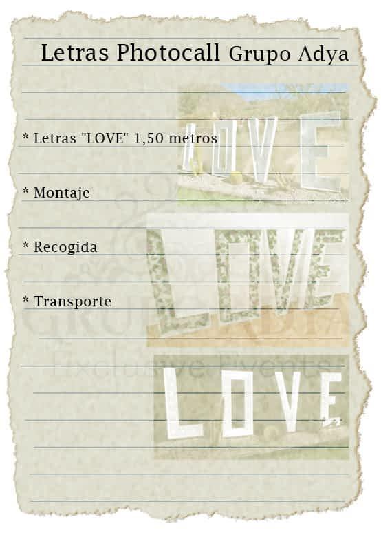 Letras Photocall | Love | Grupo Adya